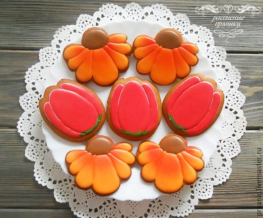Кулинарные сувениры ручной работы. Ярмарка Мастеров - ручная работа. Купить Пряничные цветы. Handmade. Оранжевый, пряники цветы