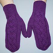 Аксессуары handmade. Livemaster - original item Purple mittens with a wide braid.. Handmade.
