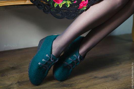 Обувь ручной работы. Ярмарка Мастеров - ручная работа. Купить Туфли валяные Emerald. Handmade. Тёмно-зелёный, авторская обувь