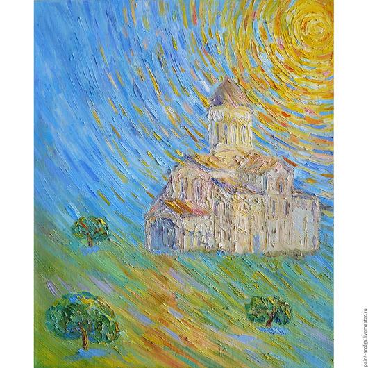 Город ручной работы. Ярмарка Мастеров - ручная работа. Купить Картина дорога к храму. Handmade. Желтый, картина, храм, дорога