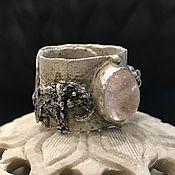Украшения handmade. Livemaster - original item Wide silver Elephant ring. Silver, gold, morganite. Handmade.
