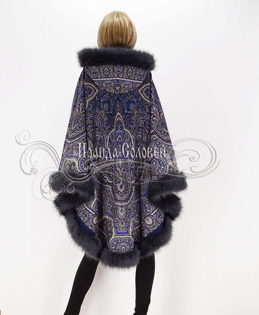 """Верхняя одежда ручной работы. Ярмарка Мастеров - ручная работа. Купить Пальто-пончо с отстёгивающимся капюшоном """"Отражение в пруд"""" из платков. Handmade."""