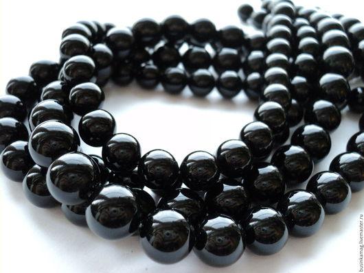 Для украшений ручной работы. Ярмарка Мастеров - ручная работа. Купить Агат черный гладкие шарики 10мм, 12мм. Handmade.