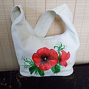 Сумки и аксессуары handmade. Livemaster - original item Leather bag in Scarlet Poppies in Spring.. Handmade.