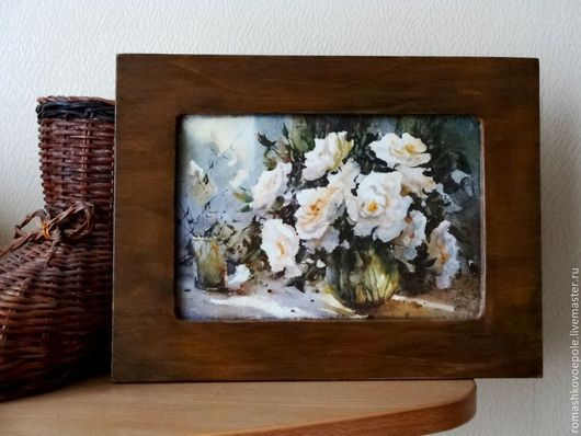 Картины цветов ручной работы. Ярмарка Мастеров - ручная работа. Купить панно Белые розы. Handmade. Белые розы