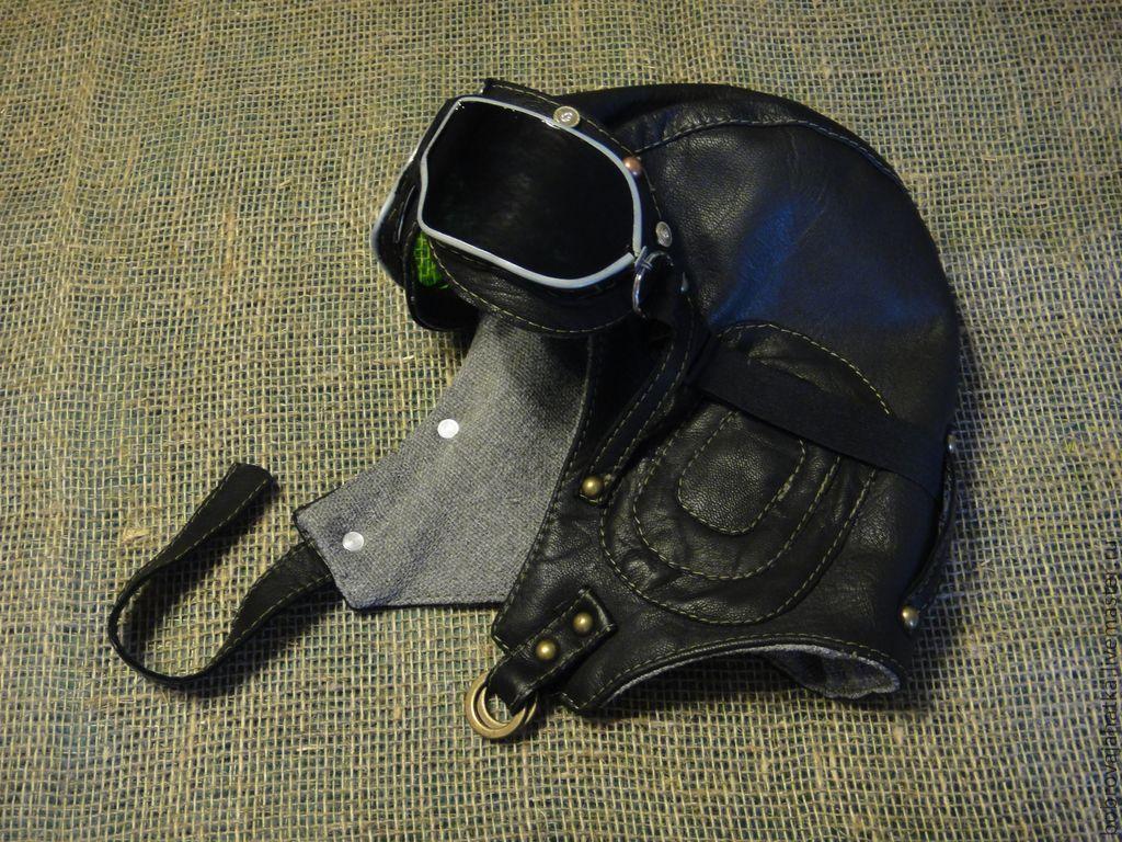 Мужская шапка шлем пилота кожаный в подарок мужчине, Аксессуары, Тверь, Фото №1