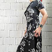 Одежда handmade. Livemaster - original item AG_002 asymmetrical Dress in black-and-white rose.. Handmade.
