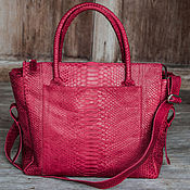 Сумки и аксессуары handmade. Livemaster - original item Bag genuine Python leather Cherry Jelly. Bag made of Python. Handmade.