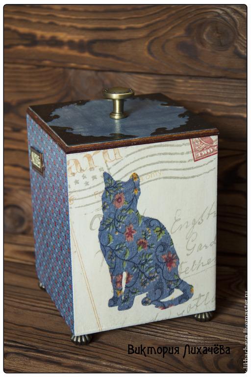 """Корзины, коробы ручной работы. Ярмарка Мастеров - ручная работа. Купить Короб """"Джинсовая кошка"""". Handmade. Синий, джинсовая кошка"""