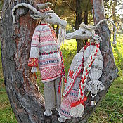 """Мягкие игрушки ручной работы. Ярмарка Мастеров - ручная работа Куклы """"Козлик и Козочка"""". Handmade."""