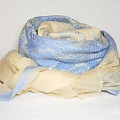 Аксессуары ручной работы. Ярмарка Мастеров - ручная работа шарф валяный песочно-голубой. Handmade.