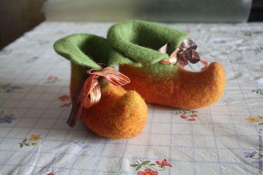 Обувь ручной работы. Ярмарка Мастеров - ручная работа. Купить Башмачки валяные Грейфруты. Handmade. Рыжий, валеночки из войлока