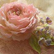 Украшения handmade. Livemaster - original item silk flowers. decoration brooch pin rose and violet. Handmade.