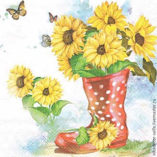 Декупаж и роспись ручной работы. Ярмарка Мастеров - ручная работа. Купить Солнечные цветы (13309430) 33х33 салфетка для декупажа. Handmade.