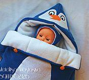 """Работы для детей, ручной работы. Ярмарка Мастеров - ручная работа Конверт для новорождённого на выписку и для прогулок """"Пингвин"""". Handmade."""