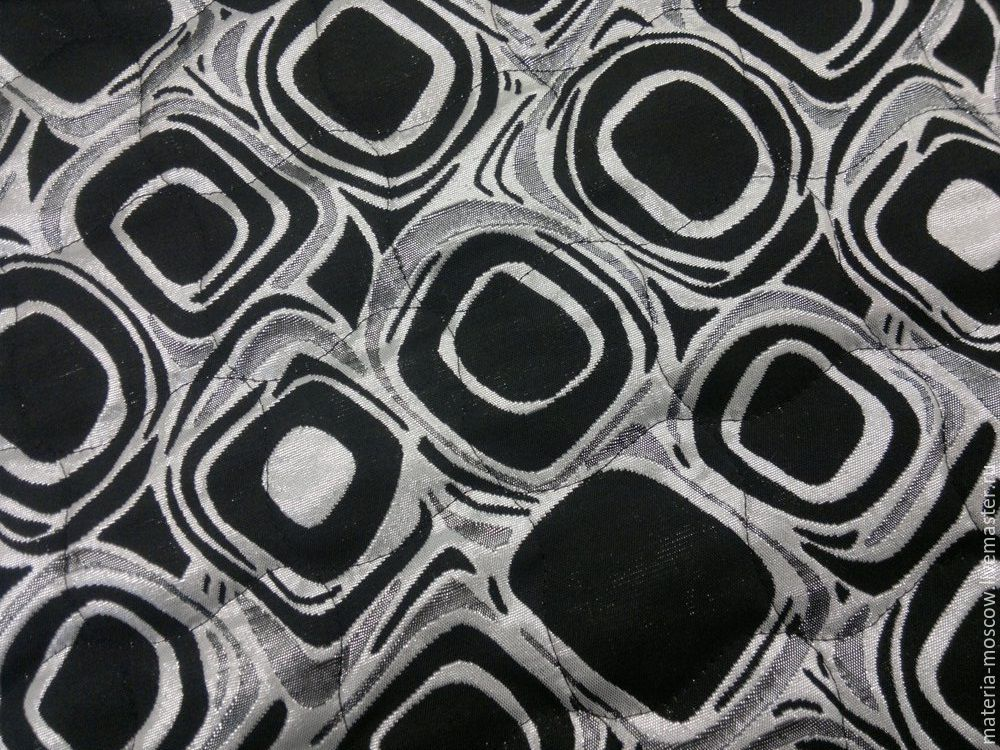 Курточная ткань с мехом цвет  черный,серебро, Ткани, Москва,  Фото №1