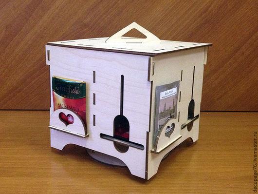 Чайная шкатулка-вертушка (продается в разобранном виде а палетках) Размер: 19х19х19 см Материал: фанера 3 мм