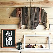 Картины и панно manualidades. Livemaster - hecho a mano The bear on the wall of the small (colorful weathered boards). Handmade.