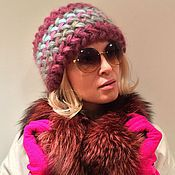 Аксессуары ручной работы. Ярмарка Мастеров - ручная работа Шапка Клематис вязаная, шапка вязанная из кид-мохера, теплая, женская. Handmade.