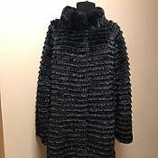 Одежда ручной работы. Ярмарка Мастеров - ручная работа Меховое комбинированное пальто BIG SIZE (синий+черный). Handmade.