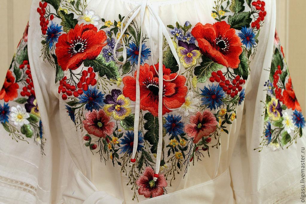 Вышивка гладью на одежде цветы