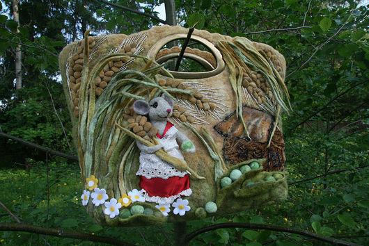 Женские сумки ручной работы. Ярмарка Мастеров - ручная работа. Купить полевая мышь. Handmade. Сумка валяная, 100% шерсть