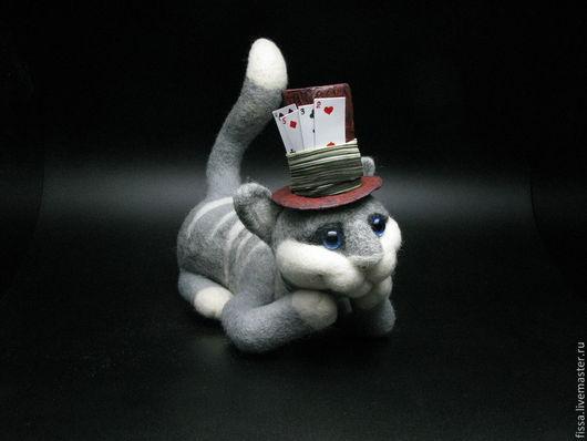 Коллекционные куклы ручной работы. Ярмарка Мастеров - ручная работа. Купить Чеширский кот. Handmade. Серый цвет, авторская игрушка