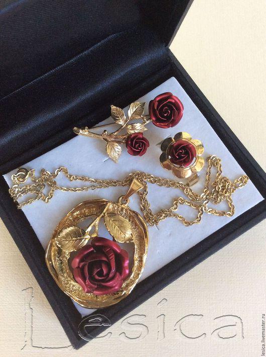 Винтажные украшения. Ярмарка Мастеров - ручная работа. Купить Комплект подвеска с цепочкой брошь кольцо Красная роза Англия винтаж. Handmade.