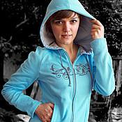 Одежда handmade. Livemaster - original item Women`s spring sweatshirt, turquoise fitted hoodie. Handmade.