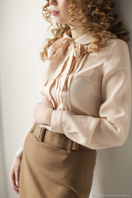 Блузка айвори из шёлка с вискозой, декорированный лиф и бант, Блузки, Томск,  Фото №1