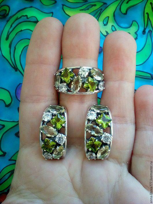 Комплекты украшений ручной работы. Ярмарка Мастеров - ручная работа. Купить 256 Комплект серебрение серьги и кольцо с фианитами. Handmade.