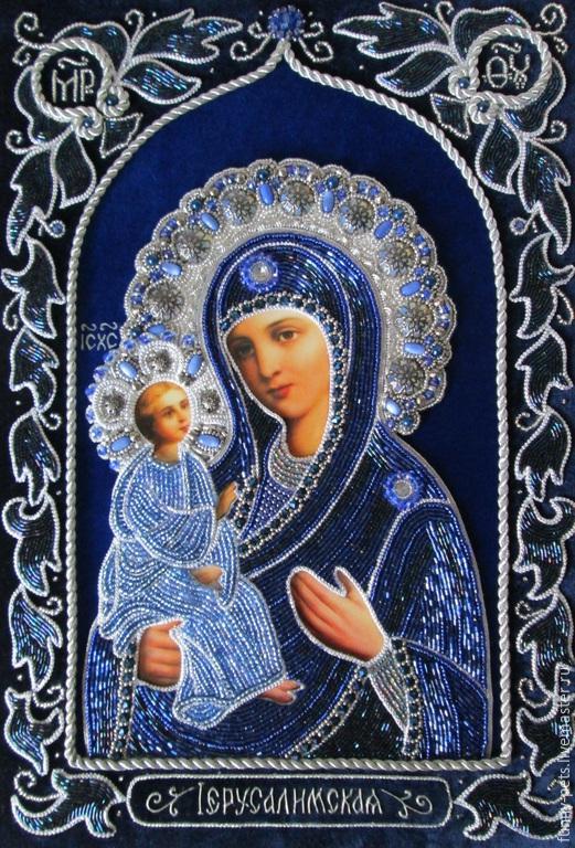 Иконы ручной работы. Ярмарка Мастеров - ручная работа. Купить Икона Божией Матери Иерусалимская. Handmade. Тёмно-синий