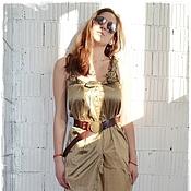 Одежда handmade. Livemaster - original item X_010 Dress with straps YULY Golden-green. Handmade.