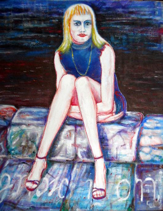 Юмор ручной работы. Ярмарка Мастеров - ручная работа. Купить картина А я одна сижу на берегу. Handmade. Картина в подарок