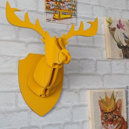 Животные ручной работы. Ярмарка Мастеров - ручная работа. Купить Голова Солнечного Оленя. Handmade. Желтый, голова оленя, животные