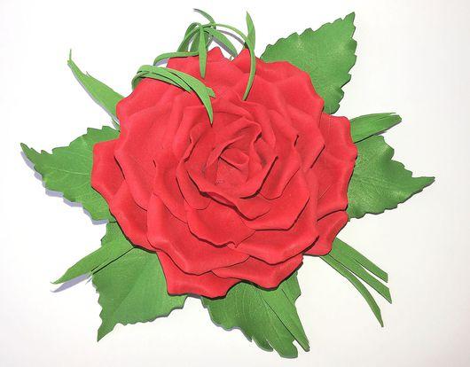 """Броши ручной работы. Ярмарка Мастеров - ручная работа. Купить Брошь """"Красная роза"""" из фоамирана. Handmade. Ярко-красный, фоамиран"""