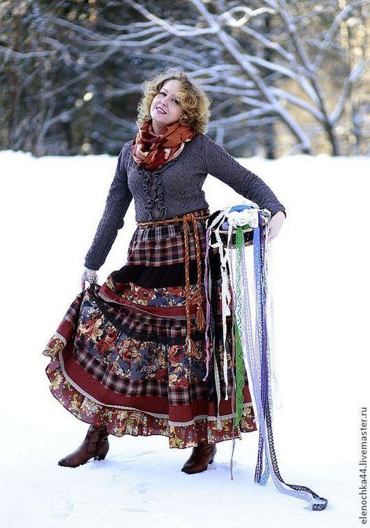 """Юбки ручной работы. Ярмарка Мастеров - ручная работа. Купить Длинная юбка в стиле бохо """"Кленовый сироп"""". Handmade. Рыжий"""