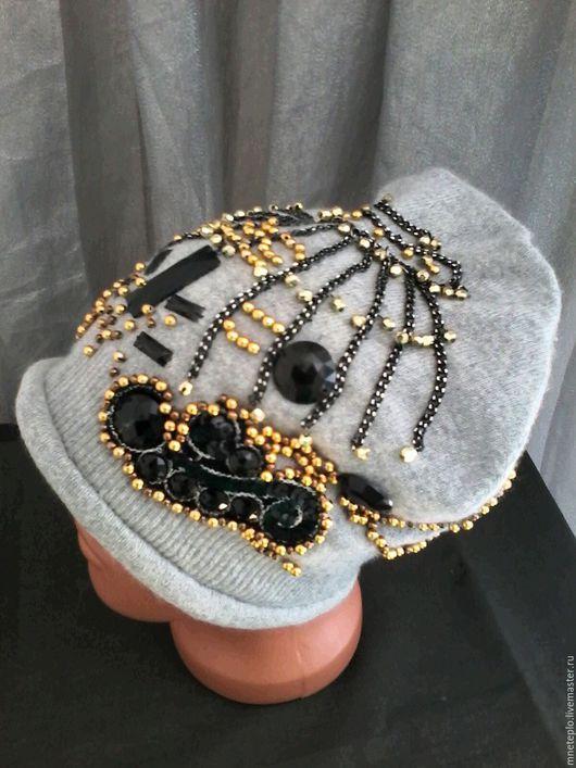 """Шапки ручной работы. Ярмарка Мастеров - ручная работа. Купить Шапка-корона из кашемира """"Иллюзия"""". Handmade. Серый, кашемировая шапочка"""