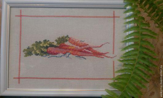 Кухня ручной работы. Ярмарка Мастеров - ручная работа. Купить морковка. Handmade. Вышивка крестом, картина для интерьера, кухня