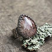 """кольцо """"Мир в капле"""", серебро, хлоритовый кварц"""