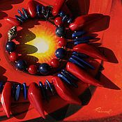 """Украшения ручной работы. Ярмарка Мастеров - ручная работа Колье """"Гаруда"""". Лазурит, коралл (тонированный), латунь.. Handmade."""