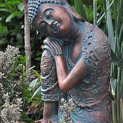 Дача и сад handmade. Livemaster - original item Buddha sitting garden decor concrete figure aged bronze. Handmade.