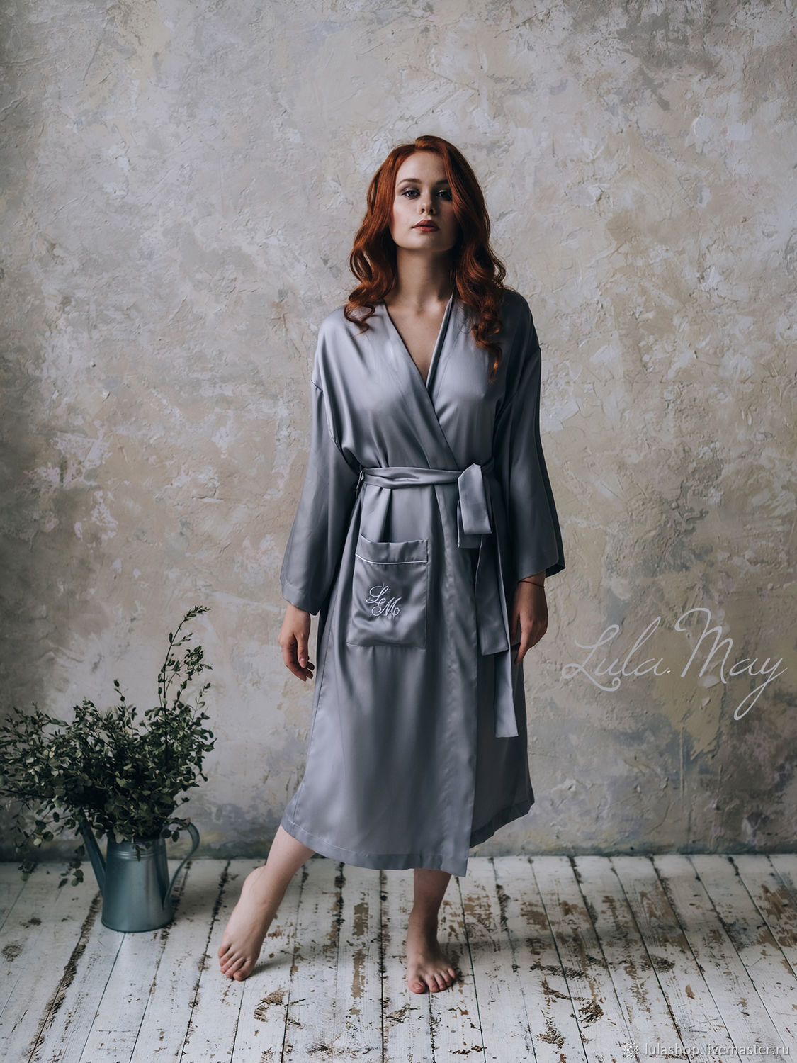Personal tencel robe with monogram embroidery, Robes, Moscow,  Фото №1
