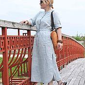 Платья ручной работы. Ярмарка Мастеров - ручная работа Льняное платье Голубой дым. Handmade.
