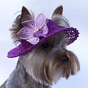 Для домашних животных, ручной работы. Ярмарка Мастеров - ручная работа Вязаная шляпа для собаки Орхидея, Панама из хлопка крючком. Handmade.