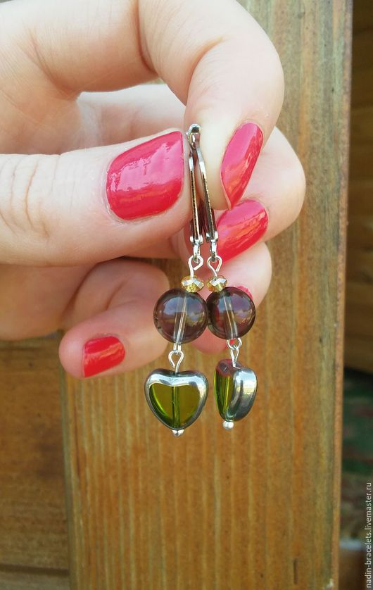 Серьги ручной работы. Ярмарка Мастеров - ручная работа. Купить Зеленые сердечки. Handmade. Зеленый, серьги ручной работы
