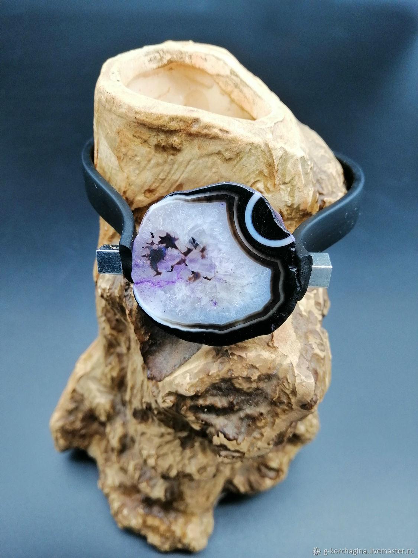 Bracelet hard with purple agate crackle on rubber bracelet, Hard bracelet, Voronezh,  Фото №1