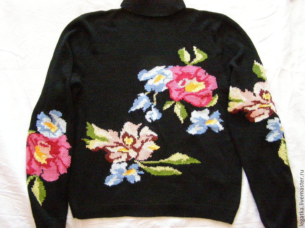 Вышивка цветы кофта
