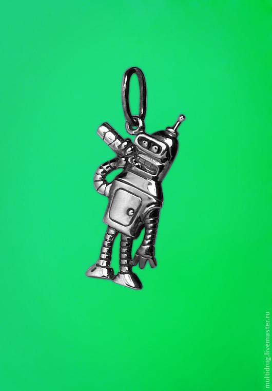 """Кулоны, подвески ручной работы. Ярмарка Мастеров - ручная работа. Купить Подвеска """"Бендер"""". Handmade. Серебряный, мультфильм, футурама"""