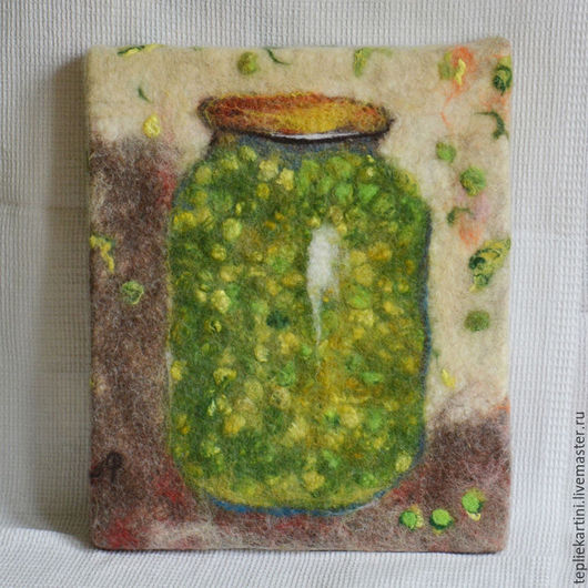 Натюрморт ручной работы. Ярмарка Мастеров - ручная работа. Купить Зелёный горошек, панно, войлок. Handmade. Комбинированный, шерстяная акварель